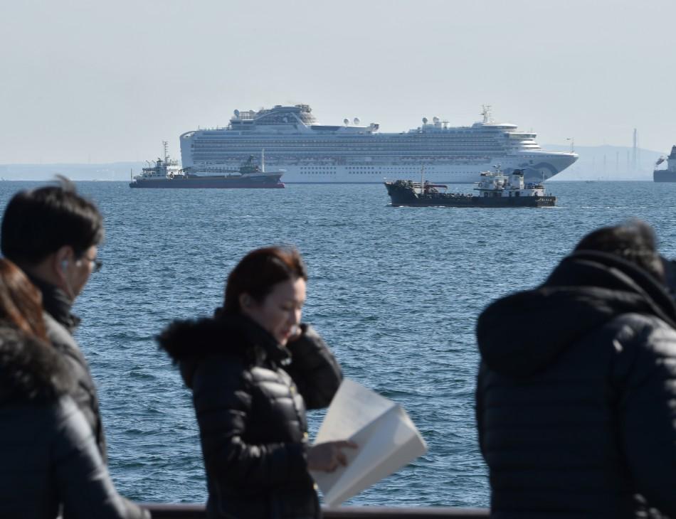 Navio cruzeiro na costa de Yokohama
