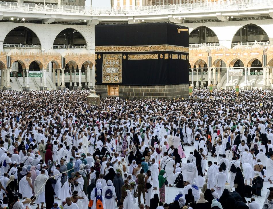 Peregrinos em manifestação religiosa em Meca, na Arábia Saudita