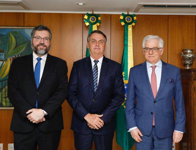 Ernesto Araújo, Jair Bolsonaro e Jacek Czaputowicz