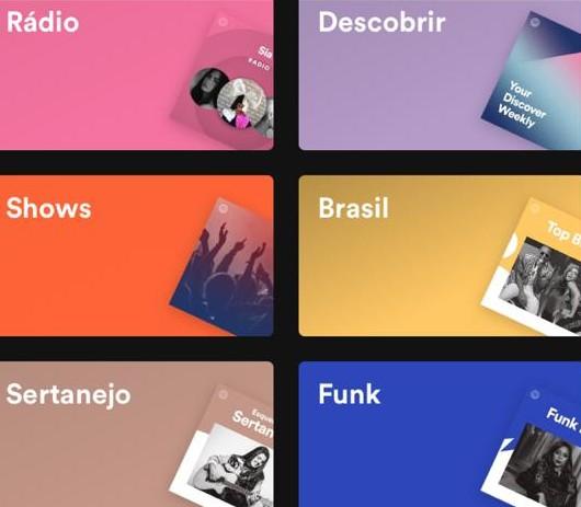 Página do Spotify