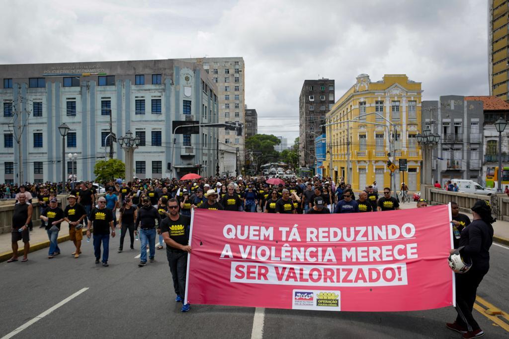 Protesto dos policiais civis no Centro do Recife