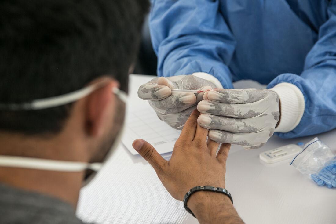 Paciente sendo testado para coronavírus