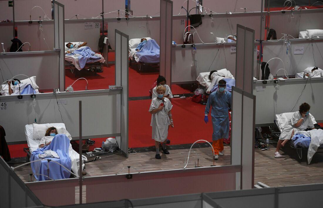 Hospital temporário montado em Madrid, capital da Espanha
