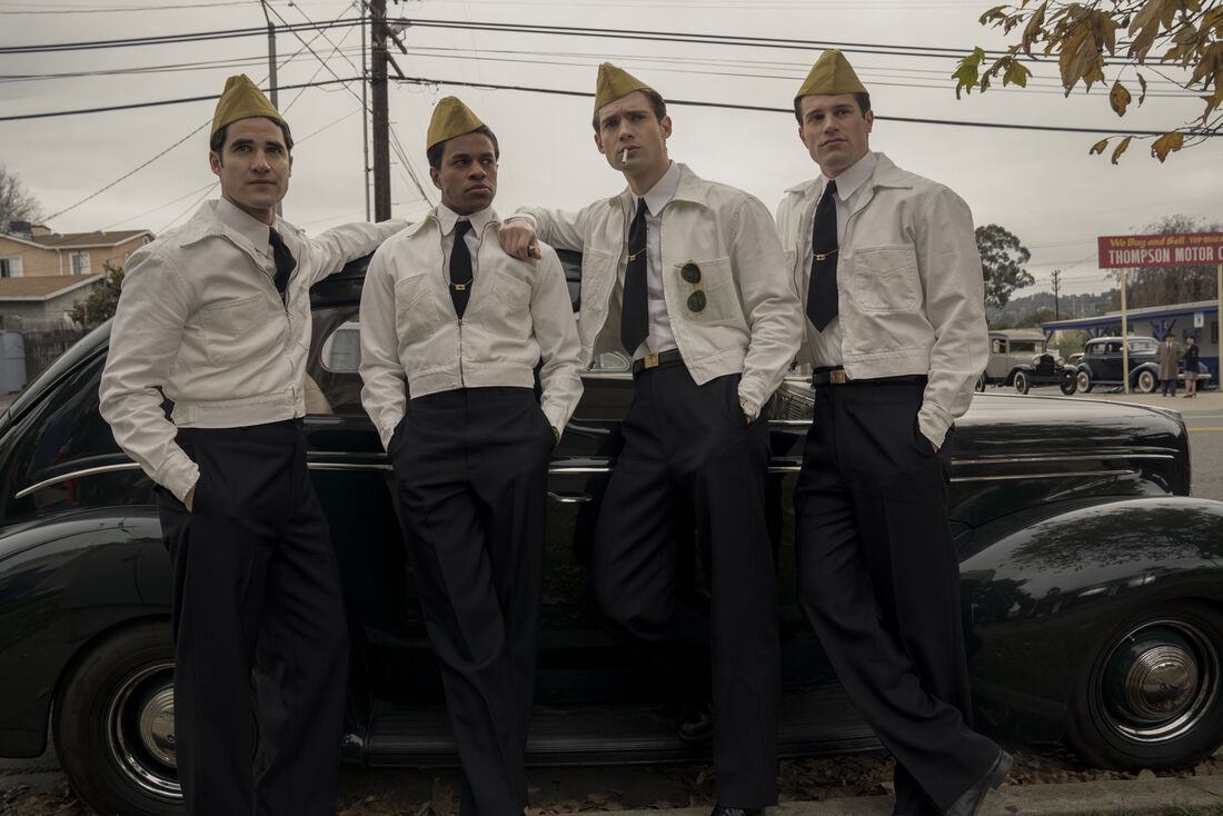 Os atores Darren Criss, David Corenswet, Jake Picking, Jeremy Pope