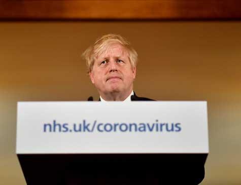 Boris Jonhson em foto do dia 19 de março passado