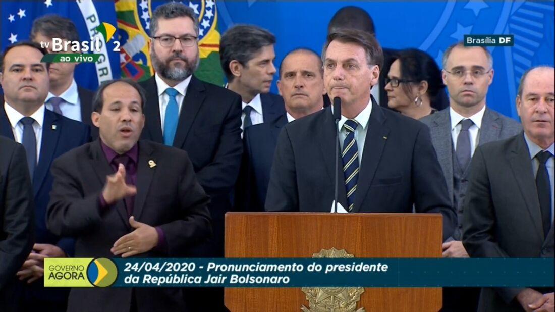 Jair Bolsnaro durante pronunciamento