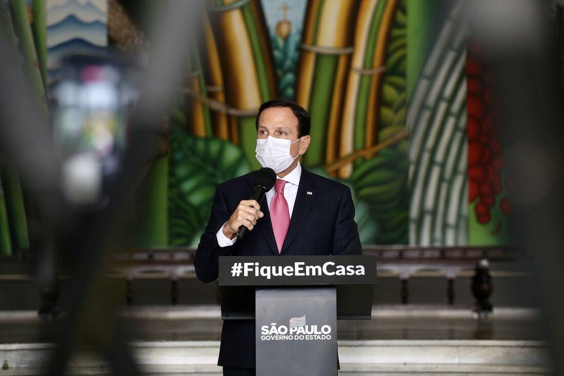 Governador do Estado de São Paulo, João Doria, durante coletiva de imprensa sobre coronavírus.