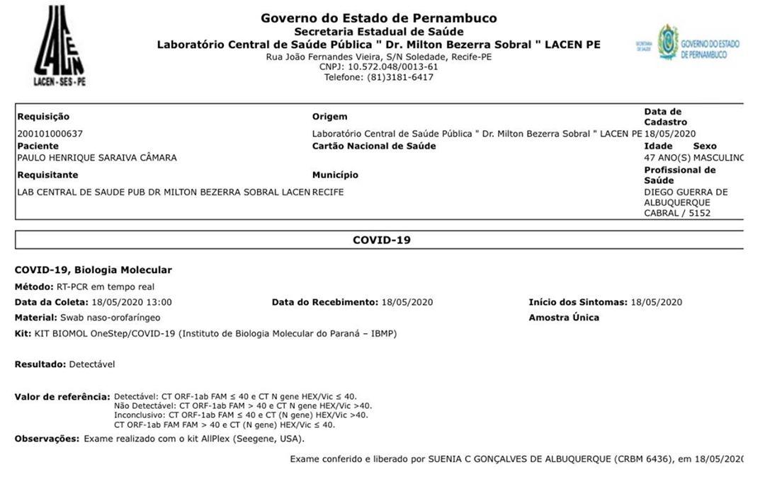 Exame do governador Paulo Câmara
