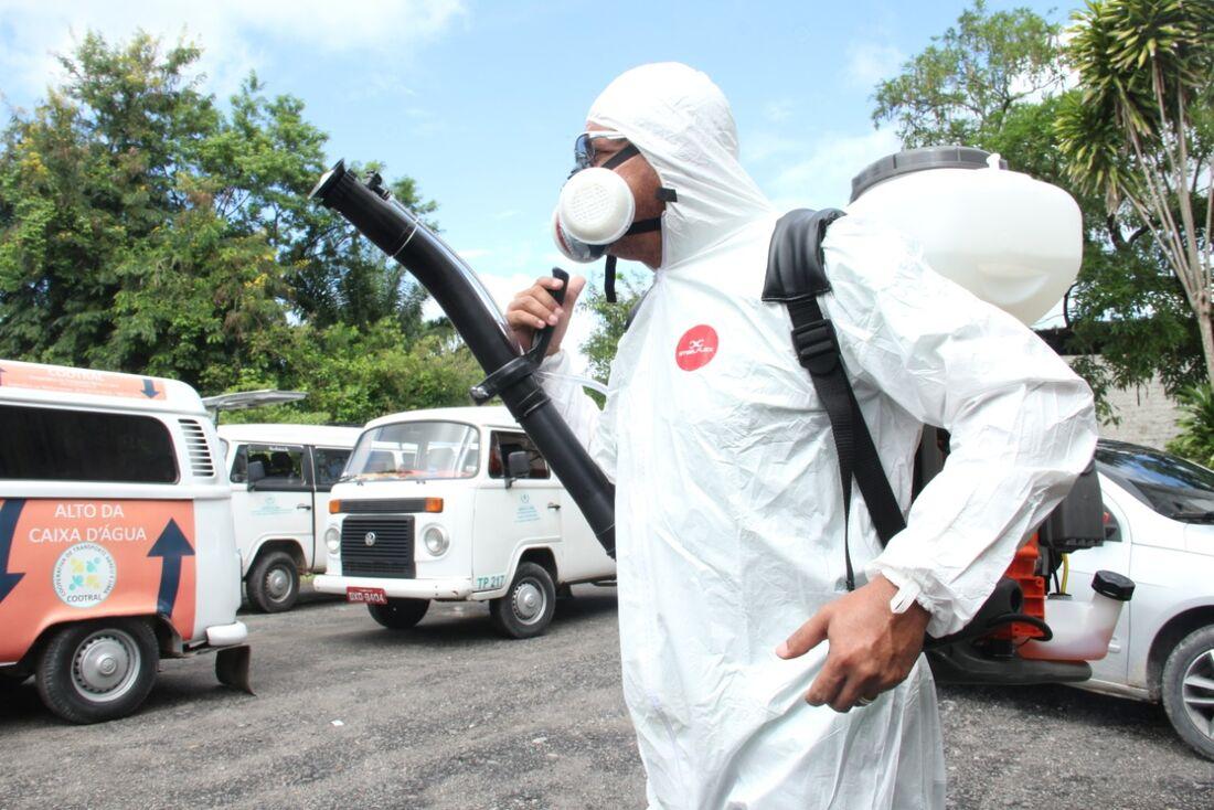 Higienização do transporte público em Abreu e Lima