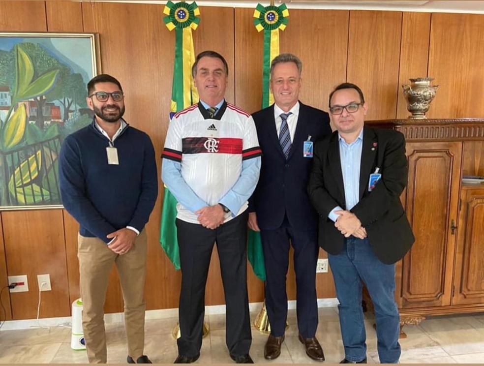 Márcio Tannure, Jair Bolsonaro, Rodolfo Landim e Alexsander Santos debatem retorno do futebol