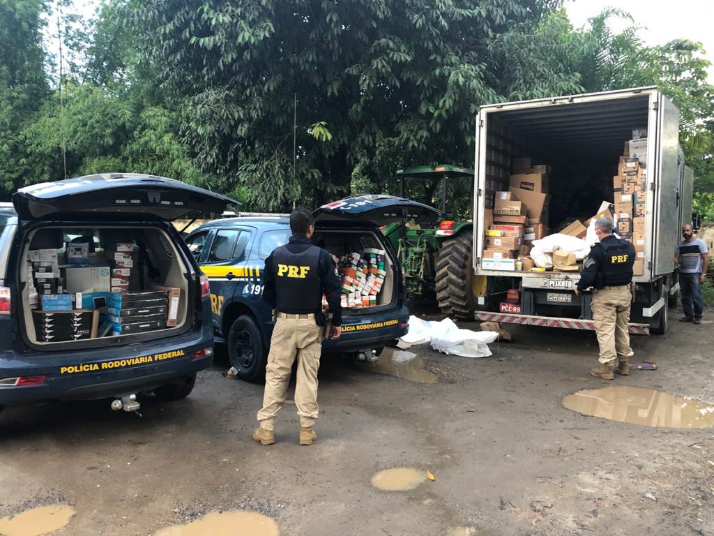 Caminhão com os produtos roubados