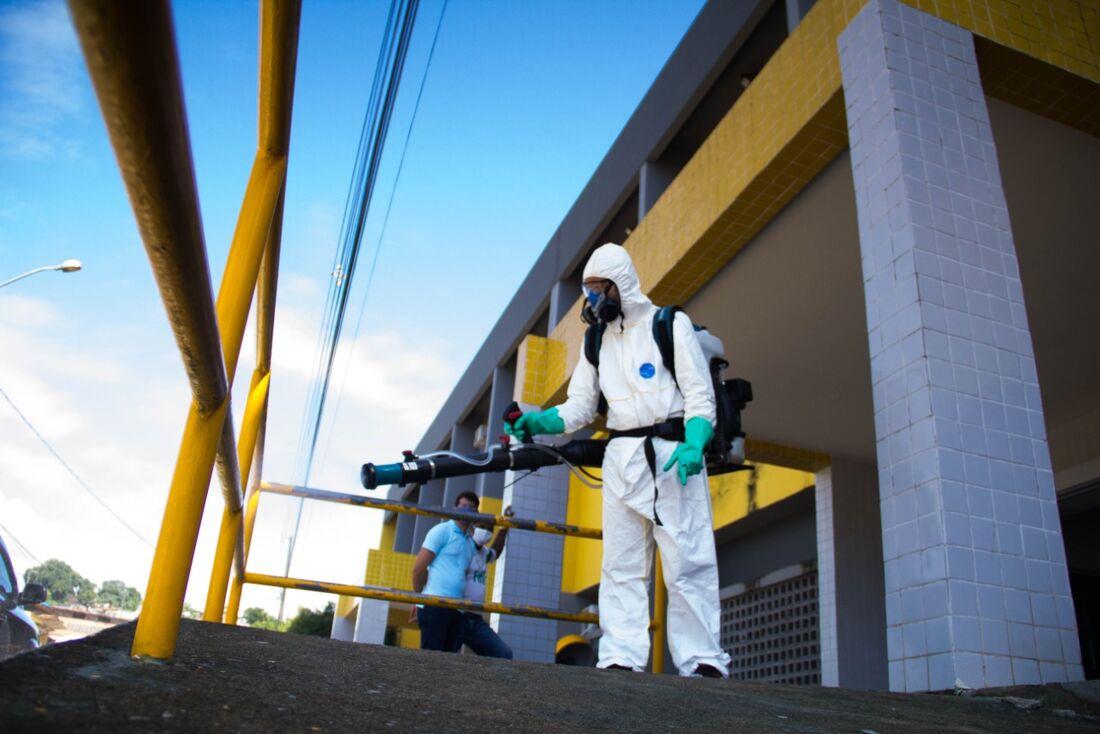 Desinfecção no Hospital Abreu e Lima