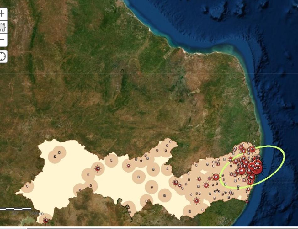 Mapa mostra situação da Covid-19 em Pernambuco no dia 30 de abril de 2020
