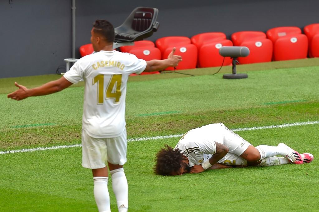 Marcelo sentiu dores durante a partida contra o Athletic Bilbao