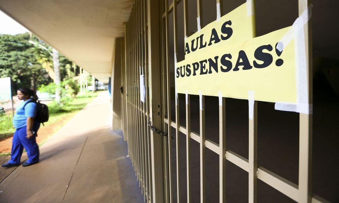 Escola com aulas suspensas por conta da pandemia