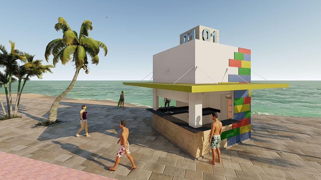 Projeto de quiosque na praia de Boa Viagem