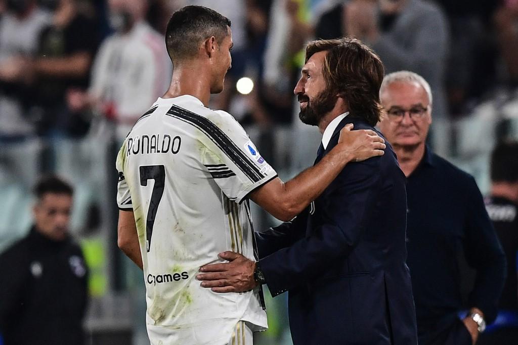 Cristiano Ronaldo e Pirlo, durante Juventus x Sampdoria