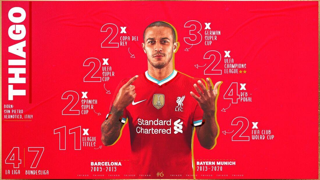 Thiago Alcântara, novo camisa 6 do Liverpool