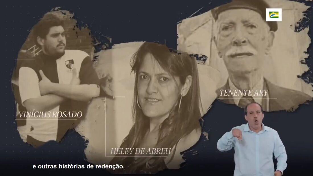 Alguns nomes homenageados em vídeo por Mário Frias.