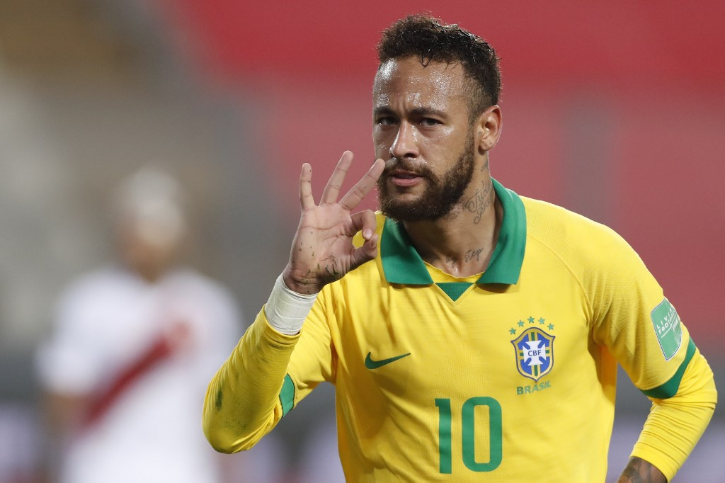 Neymar em jogo contra o Peru