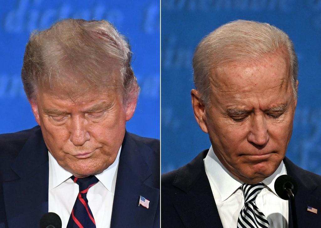 Donald Trump (E) e Joe Biden