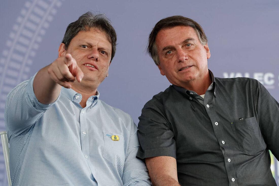 Ministro de Infraestrutura, Tarcísio de Freitas, e Jair Bolsonaro