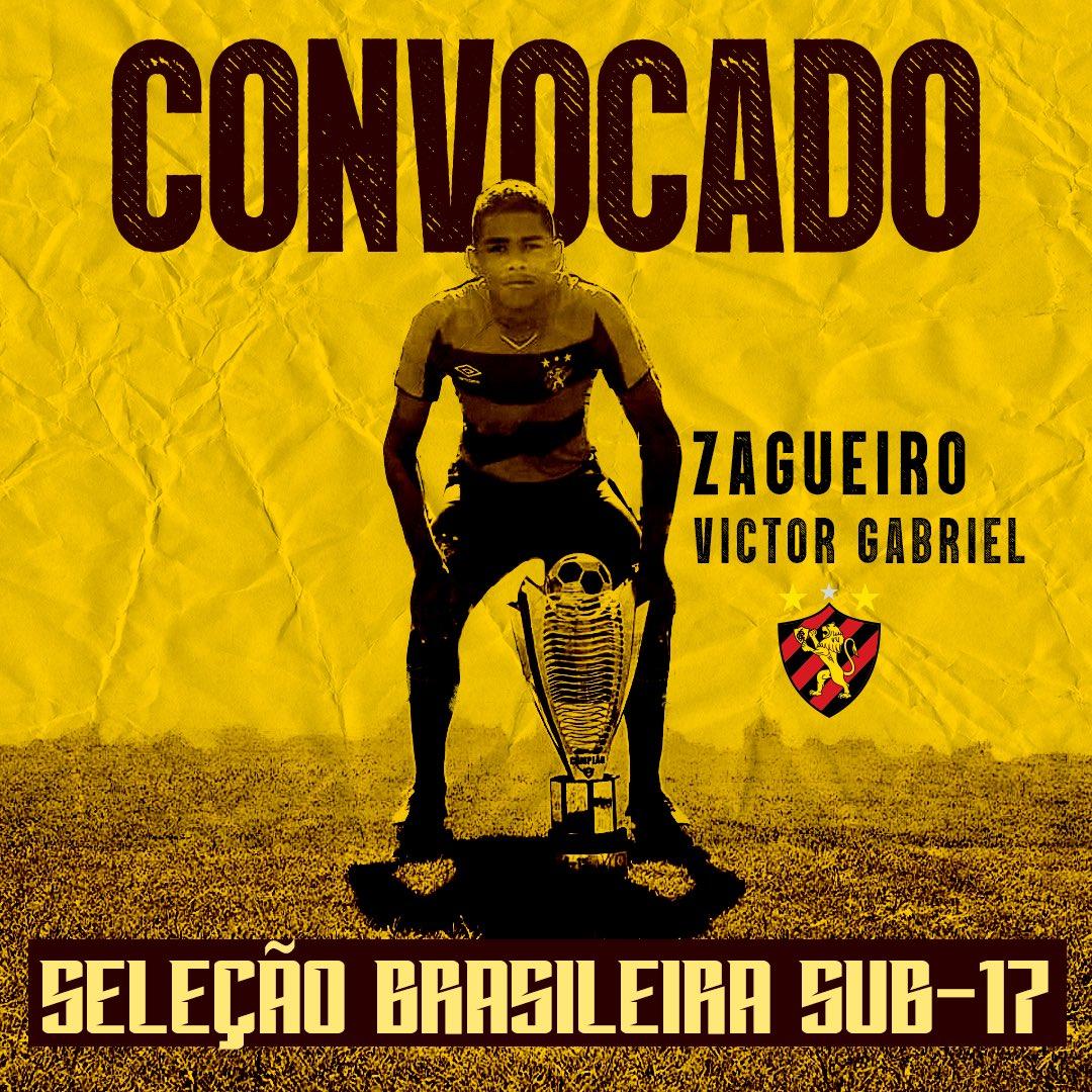 Victor Gabriel, zagueiro do Sport convocado para a seleção brasileira sub-17