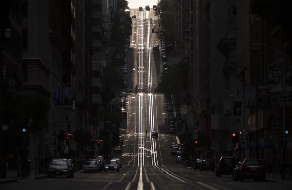 Ruas vazias no primeiro lockdown realizado em março em São Francisco, nos EUA