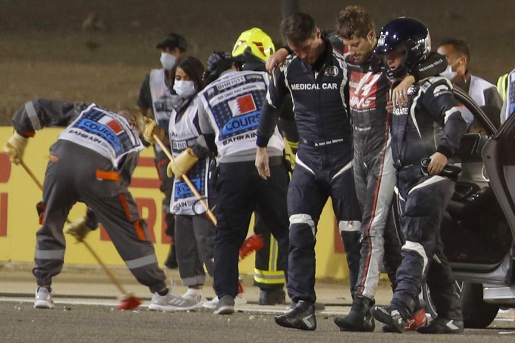 Romain Grosjean após acidente no Grande Prêmio do Barein