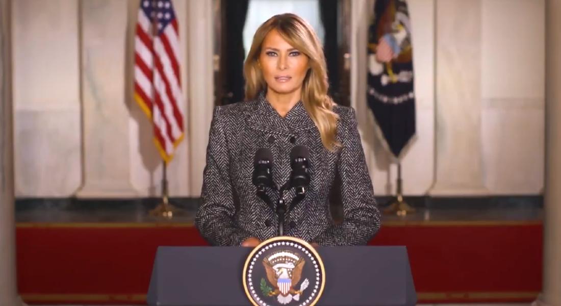 A primeira-dama dos Estados Unidos, Melania Trump, no discurso oficial de seis minutos gravado em vídeo