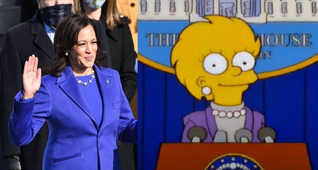 Semelhança entre figurino de Kamala Harris e Lisa da série 'Os Simpsons