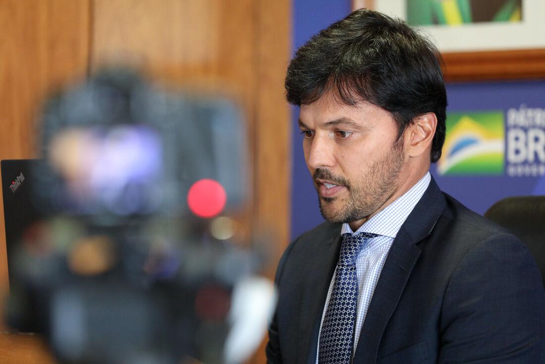 Ministro das Comunicações, Fábio Faria durante participação por videoconferência da reunião do Grupo de Trabalho do 5G da Câmara dos Deputados
