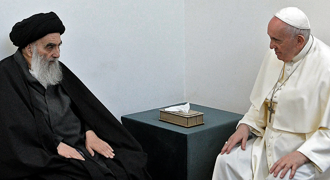 O Papa Francisco se encontrou com o aiatolá Ali Al-Sistani