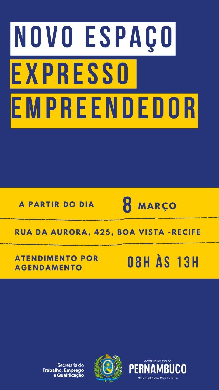 Folder de divulgação do novo espaço do Expresso Empreendedor do Recife
