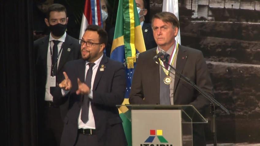 Presidente Bolsonaro na solenidade de posse do novo diretor-geral da Itaipu Binacional