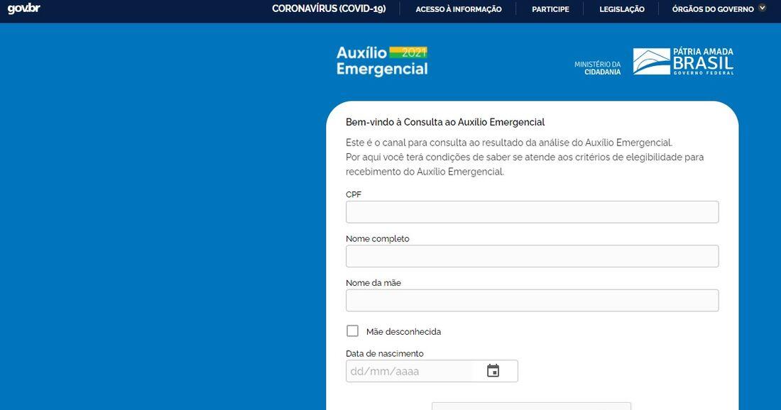 Site para consulta do auxílio emergencial