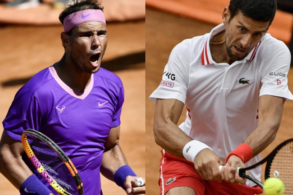 Nadal (E) e Djokovic (D) se enfrentam neste domingo (16)