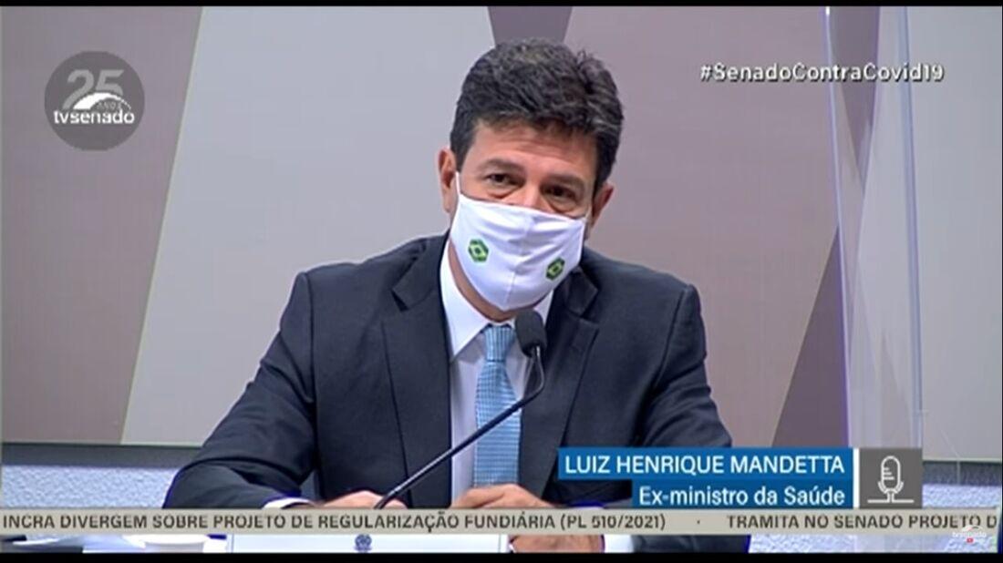 Ex-ministro Mandetta na CPI da pandemia