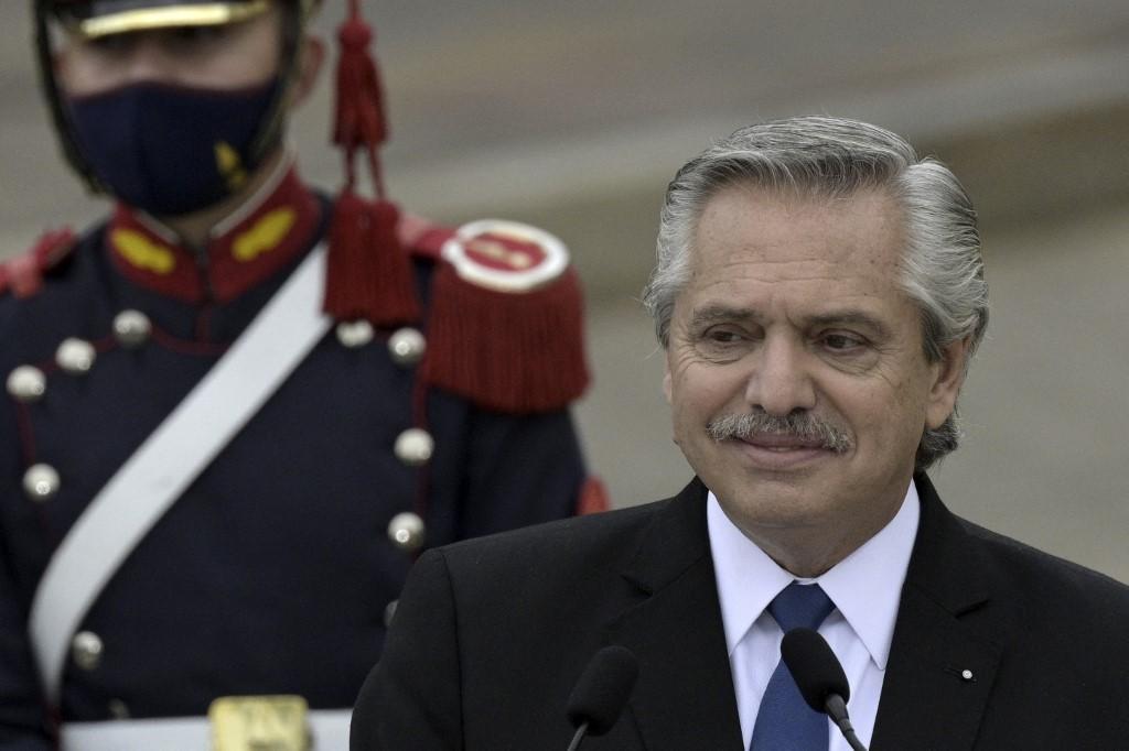 Presidente da Argentina, Alberto Fernandez durante encontro com o premiê espanhol Pedro Sanchez