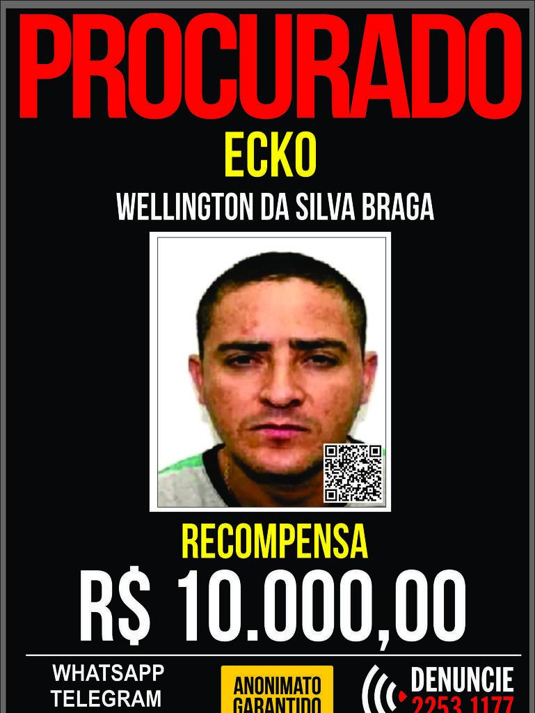 Cartaz oferece recompensa por Wellington da Silva Braga, o Ecko -