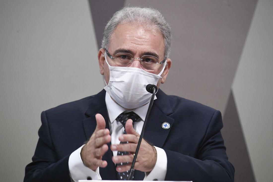 Ministro da Saúde, Marcelo Queiroga durante a CPI