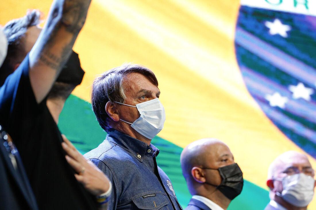 Presidente Jair Bolsonaro durante culto em Anápolis