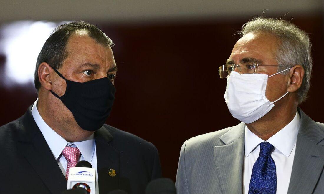 Omar Aziz, presidente da CPI, e Renan Calheiros, relator da CPI