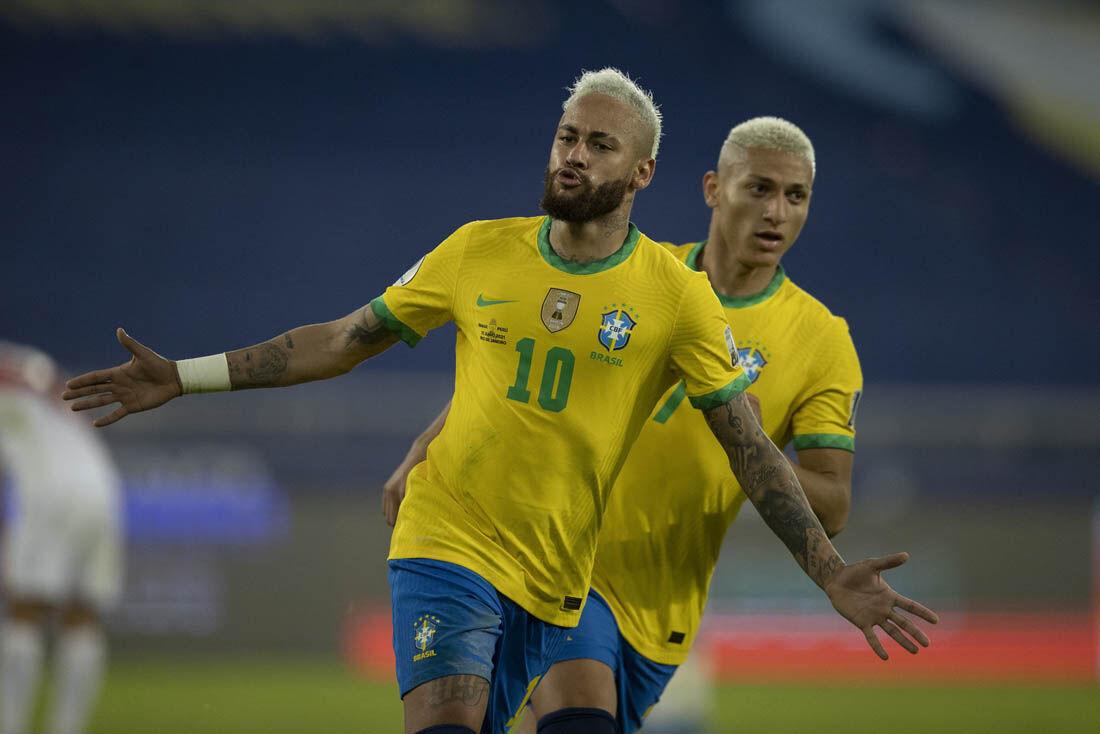 Neymar marcou seu 68º gol pela Seleção, ficando a nove de Pelé, o maior artilheiro da história do time nacional.
