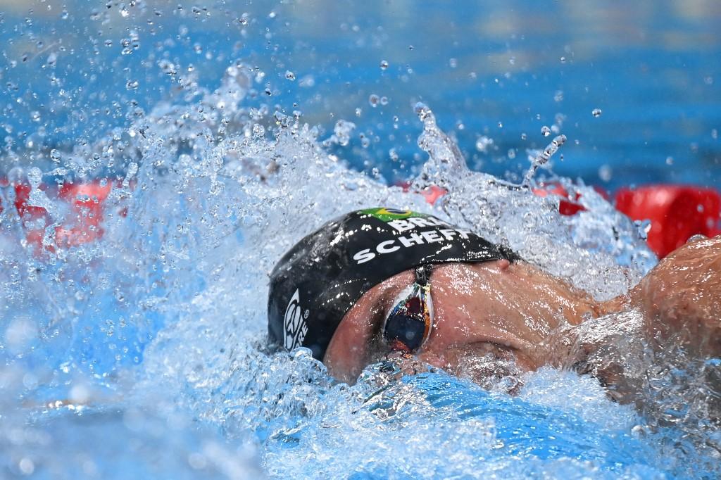 O brasileiro Fernando Scheffer compete na prova dos 200m livre masculino durante os Jogos Olímpicos de Tóquio 2020