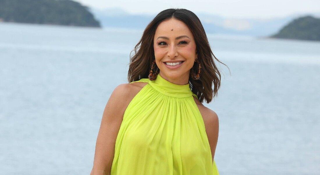 Sabrina Sato nas gravações de A Ilha