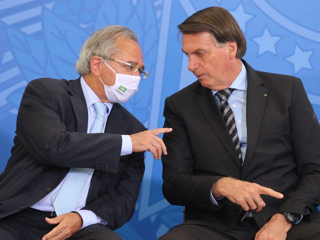 Ministro da Economia, Paulo Guedes, e o presidente da República, Jair Bolsonaro