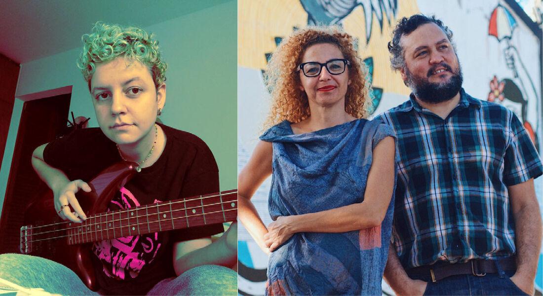 O artista Luca Delmas e os galeristas Claudia Aires e Guga Marques