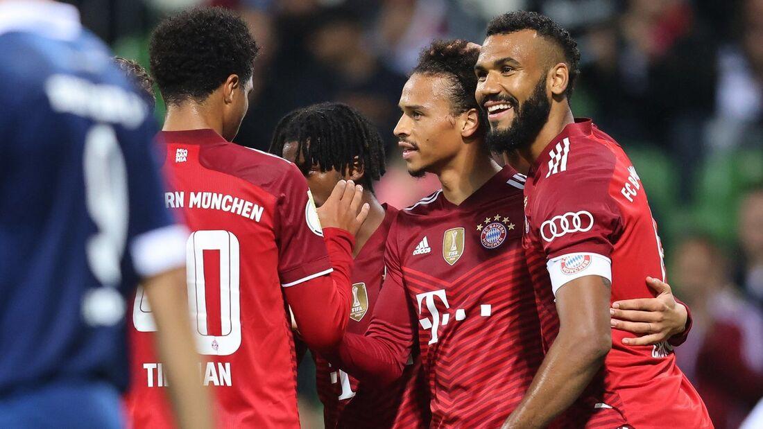 Jogadores comemoram um dos gols do Bayern