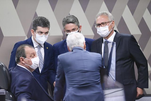 Reunião de membros do chamado 'G7', grupo oposicionista ao governo Bolsonaro na CPI da Covid